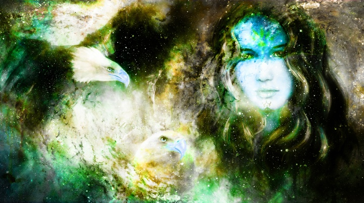 Goddess Woman and eagles in Cosmic space.