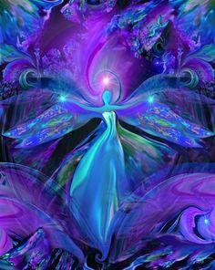 Purple Chakra by Primal Painter - female angel violet face